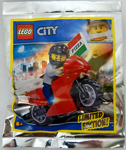 NEW LEGO PIZZA DELIVERY GUY MINIFIG FOIL PACK SET 951909 minifigure motorcycle