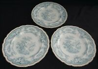 """Maddock & Sons England Bombay Blue-Green Set of 3 Dinner Plates 10"""""""