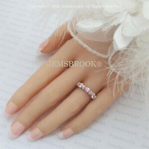 1.50 ct halbe Ewigkeit Rosa Saphir Diamant Ring Sterling Silber Platin Finish