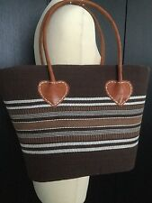 BNWOT DESIGNER BROWN STRIPE/LEATHER HEART DETAIL CORD FABRIC BEACH/HOLIDAY BAG