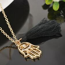 1 Vergoldet Charm Halskette Fatimas Hand Hamsa Schwarz Quaste Anhänger Strass