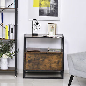 Industrial-Style Side Table w/ Drawer Open Shelf Steel Frame Large Base Retro