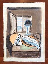 Original Modern Painting Signed Marcoussis Avant Garde Pastel & Chalk Still Life