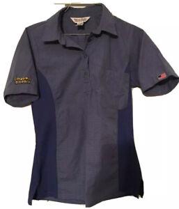 Waffle House Employee Uniform Three button Shortsleeve Shirt Blue Small