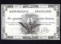 FRANCE French Assignats P-A73 400 LIVRES  1792  aUNC