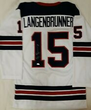 Autographed/Signed JAMIE LANGENBRUNNER Team USA Olympics Hockey Jersey NHL