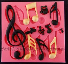 Music Note Mold 14 Cavities Silicone Musical Theme Mold Candy Chocolate Clay