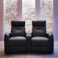 Houston Cinema 2er TV Sessel Fernsehsessel Polsterstuhl Kunstleder schwarz