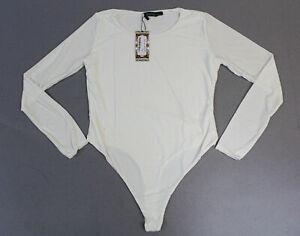 boohoo Women's Slinky Double Layer Plunge Bodysuit KB7 White US:10 UK:14 NWT