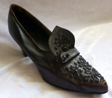 Vintage 1910s Black Leather Beaded Shoes Heels Size 5