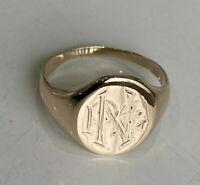 Vintage 9k Solid gold signet ring 3.48g size N 1/2 -  6 3/4