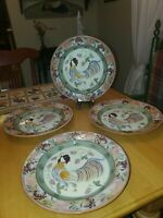 "Danna Cullen Designs 10.5"" Dinner Plates Chanticleer Rooster Set of 4 EUC"