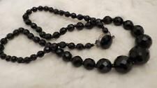 """Vintage Black French Jet Round Graduated Facet Glass Bead Long  26"""" Necklace"""