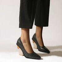 Lady Women's Chunky Heel Dress Pointy Toe Slip on Pumps Snakeskin Pattern Shoes