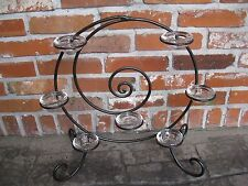 Unique Black Wrought Iron Candle Holder with 7 Heavy Glass Tealight Holders..EC!
