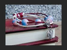Mindfulness art Yoga Bracelet Spirit Healing Ohm Energy Silver Heart Charm Pink