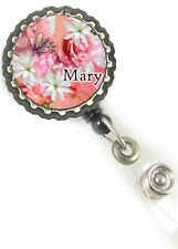 Butterfly Flowers Retractable Reel ID Badge holder personalized w/ur name nurse