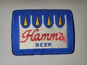 """HAMM'S BEER VINTAGE BLUE AND SILVER  Embroidered 4""""x 3.25"""" Iron On Patch"""