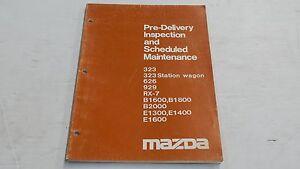 MAZDA 323 626 929 RX7 B1600 B1800 E1300 PRE-DELIVERY INSPECTION MAINTENANCE BOOK