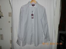 """M&S Luxury SUPERIOR 2 FOLD TAILORED Fit, Double Cuff. WHITE MIX SHIRT UK 17.5"""""""