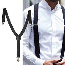 Adjustable Pants Women/Mens Black Clip-on Braces Elastic Y-back Suspenders US