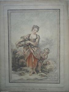BOUCHER (1703-1770) GRAVURE XVIII° COULEUR FEMME PAYSAN MODE ENFNAT CHIEN