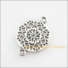18 New Connectors Round Flower Tibetan Silver Tone Charms 14x20mm