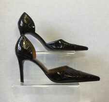Next Ladies Brown Patent Leather Croc Print Cutaway Court Shoes U.K. 6.5/40