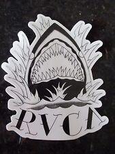 Authentic RVCA Sticker SHARK Clear background Black design Shark Teeth 4x5 COOL!