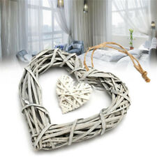 1X Synthetic Resin Wicker Heart Shaped Hanging Ornament Wreath Rattan Decoration