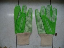 Natl Federation Blindness Gardening Gloves Green & White Cotton Adult 1 Size New