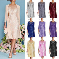 Sheath Lace Applique Mother of The Bride Groom Dresses Tea Length with Jacket