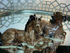 Horses Bone China Glossy Figurines Lot of 2 Brown Cowboy Farmhouse Vintage #El2