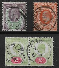 Small Group Of KEVII - 1&1/2d., 2d.Pair,& 4d.Orange.  All VFU.   Ref:0743