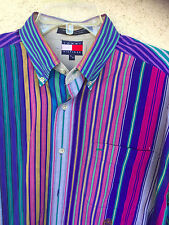 Tommy Hilfiger Men's Shirt Stripes in Beautiful Colors  Button-Down Collar   M