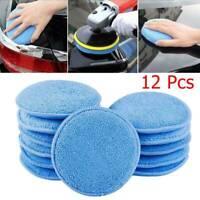 "12PCS 5"" Microfiber Foam Sponge Polish Wax Applicator Car Detailing CleaningPad"