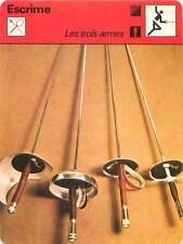 FICHE CARD:1-Sabre 2-Épée 3,4-Fleuret (Foil) fran.et ital. FENCING ESCRIME 1970s