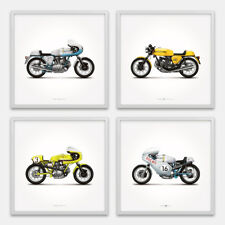 Classic Ducati Motorcycle Illustration Poster Print - Set of 4
