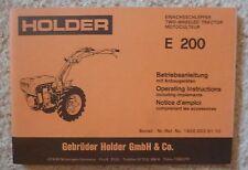Holder Einachser E200 Betriebsanleitung