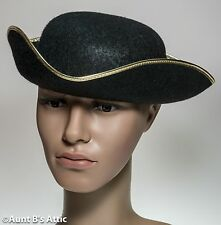 Tricorn Hat Men's 18th Century Colonial Style Black Felt Costume Hat Large