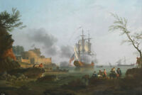 "oil painting ""Italian Landscape with fishermen and coastal warship ""@NO9569"