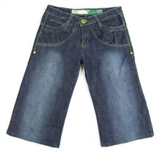 Johnny Girl Womens Size 8/9 Embellished Wide Leg Capri Jeans Cropped Blue Green