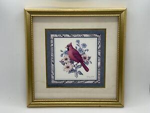 "Kathy Seek Friendship Garden Cardinal Print - Matted With Gold Wood Frame 9""x9"""