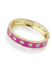Beautiful  Hot pink enamel & diamante - crystal metal hinged bangle * SALE *