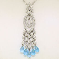 18k White Gold 1.30ctw Diamond & Blue Topaz Briolette Chandelier Dangle Necklace