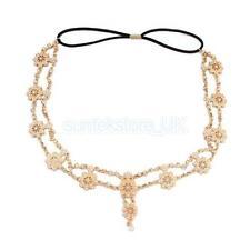 Boho Gold Crystal Pearl Flower Hairband Head Chain Head Piece Wedding Party