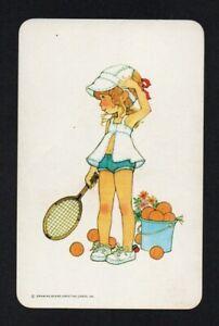 Blank back swap card, 1970s tennis girl - Drawing Board - children