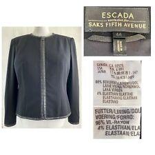 ESCADA EUR 44 US 14 Black Wool Stretch Zip Jacket Perforated Leather Trim EUC