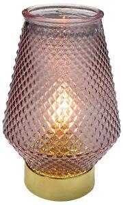 18cm LED Table Desk Lamp Purple Glass Battery Operated  Bedroom Night Light