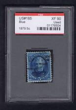 SCOTT# 185 USED 5c BLUE 1879 GRADE XF90 PSE CERT ENCAPSULATED